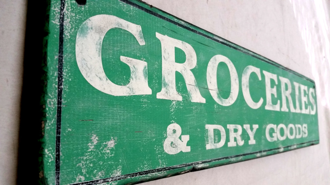 Groceries and Dry Goods Wood Sign