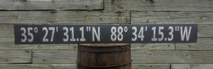 Personalized Latitude Longitude Wood Sign - Antique Style