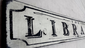 Library wood sign