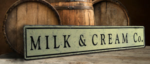 Milk & Cream Co Wood sign