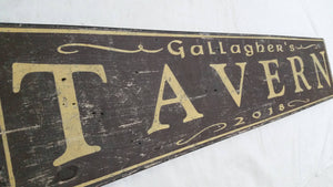 Tavern Wood Sign Close up