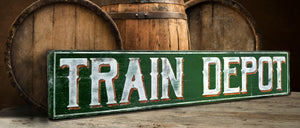 Train Depot Wood sign