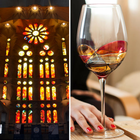 Luxury hand-painted wine glass inspired by the designs of Antoni Gaudi and Sagrada Familia with wine inside. Detail colours. Woman drinking. Cornet Barcelona
