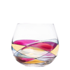 Luxury stemless hand-painted wine glass inspired by the designs of Antoni Gaudi and Sagrada Familia. White background. Cornet Barcelona