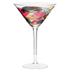 Luxury hand-painted Martini glass inspired by the designs of Antoni Gaudi and Sagrada Familia. White background. Cornet Barcelona