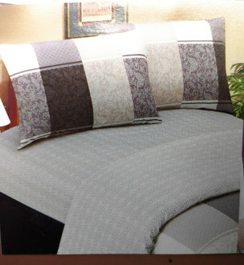 Elegant Jacquard Grey Floral Paisley Linen Fitted & Flat Sheets Set with Pillow Cases Sham Covers (FSFS8222) - Stores Basement - Discount Bedding