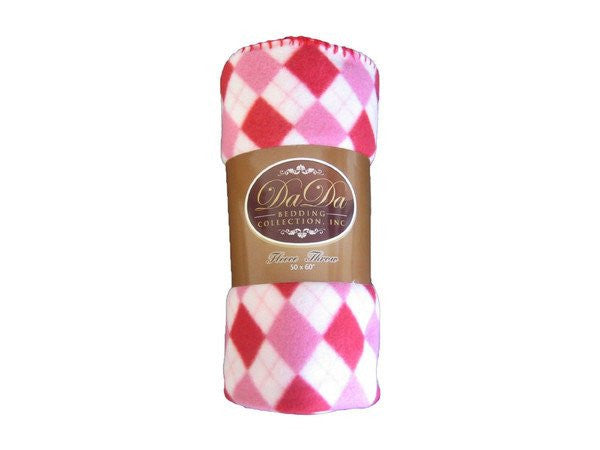 Pink White Checkered Super Plush Soft Cozy Warm Plush Luxe Polar Flannel Fleece Throw Blanket - Stores Basement - Discount Bedding