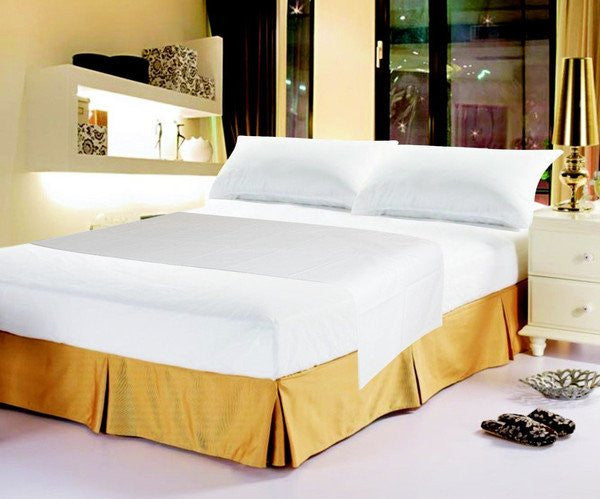 Luxury Solid Soft White Linen Fitted & Flat Bed Sheets Set with Pillow Cases Sham Covers (FSFS098765) - Stores Basement - Discount Bedding