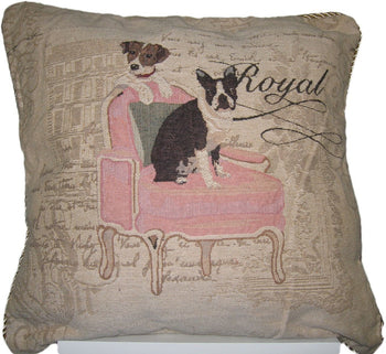 "Royal Dogs French Bulldog Beagle Elegant Novelty Woven Square Accent Cushion Cover Throw Toss Pillow Case - 1-Piece - 18"" - Stores Basement - Discount Bedding"