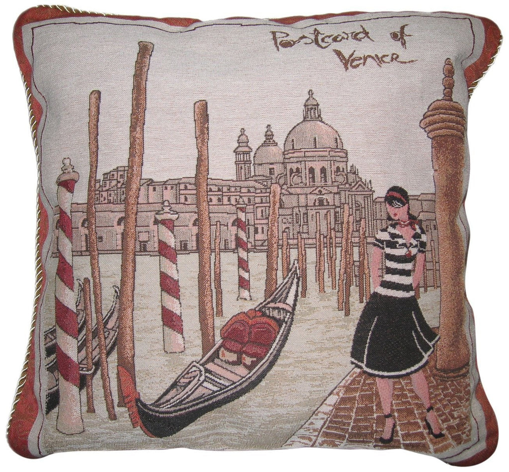 "Postcard of Venice Europe Italy Boat Gondola Castle Elegant Novelty Woven Square Accent Cushion Cover Throw Toss Pillow Case- 1-Piece - 18"" - Stores Basement - Discount Bedding"