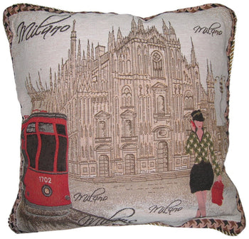 "Postcard of Milan Europe Italy Cathedral Castle Elegant Novelty Woven Square Accent Cushion Cover Throw Toss Pillow Case - 1-Piece - 18"" - Stores Basement - Discount Bedding"