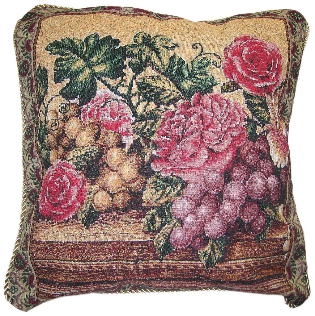 "Romantic Parade of Fruit & Roses Botanical Grapes Elegant Novelty Woven Accent Cushion Cover Throw Toss Pillow Case - 18"" - 1-Piece - Stores Basement - Discount Bedding"