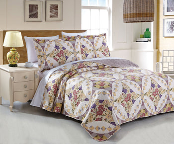 Wisteria Roses Floral Elegant Bohemian Patchwork Quilted Coverlet Bedspread Set (HS-1003) - Stores Basement - Discount Bedding
