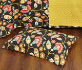 Marigold's Floral Brown & Yellow Autumn Garden Elegant Bohemian Reversible Quilted Coverlet Bedspread Set (HS-3330) - Stores Basement - Discount Bedding
