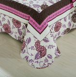 Bohemian Floral Chrysanthemum Vines Hot Pink & Brown Reversible Patchwork Quilted Coverlet Bedspread Set (KBJ1629) - Stores Basement - Discount Bedding