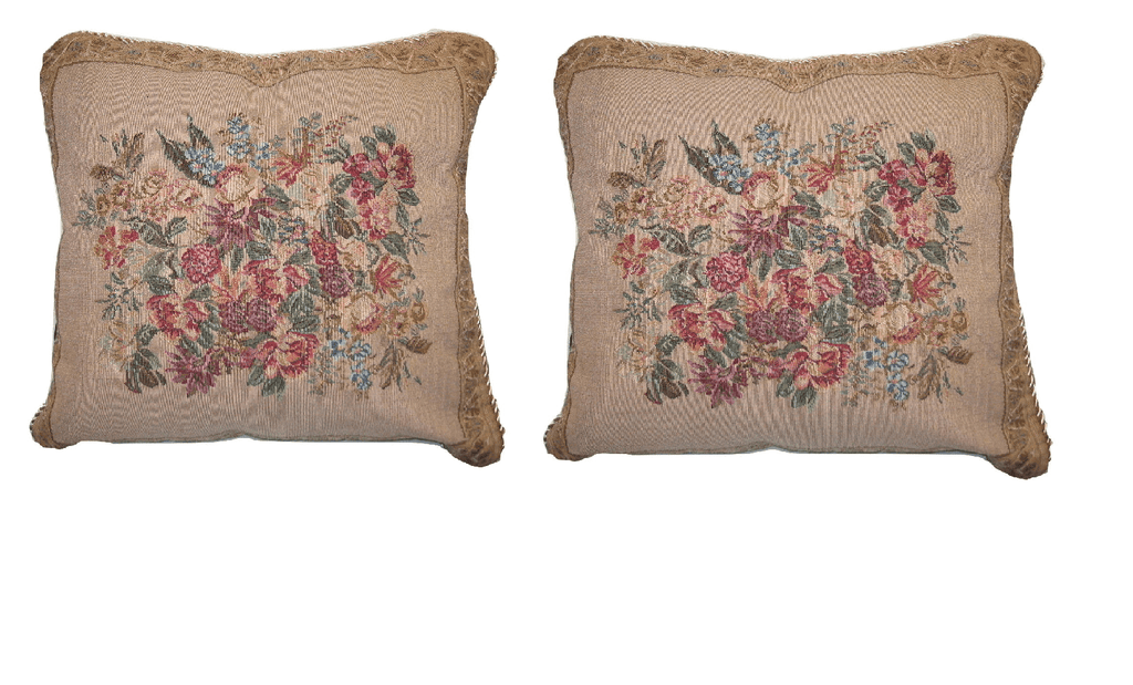 "Set of Two Wildflower Wonderland Floral Elegant Novelty Woven Square Throw Toss Accent Cushion Cover Pillow with Inserts - 2-Pieces - 18"" x 18"" - Stores Basement - Discount Bedding"