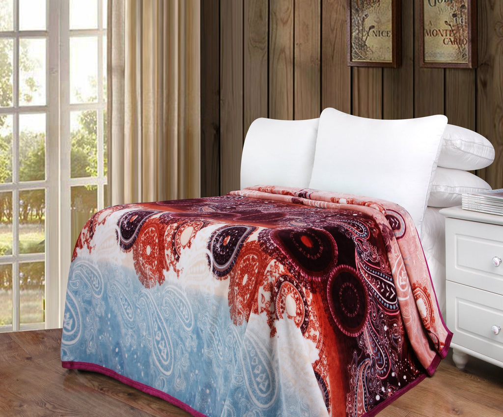 Paisley Dreams Floral Colorful Burgundy Reversible Soft Warm Cozy Plush Luxe Fleece Flannel Throw Blanket (XY0025) - Stores Basement - Discount Bedding