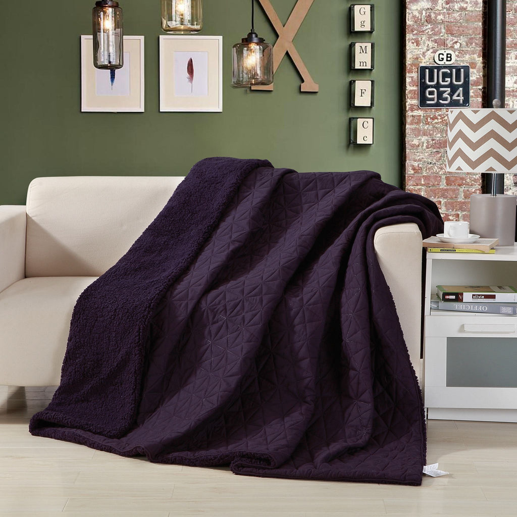Eggplant Aubergine Reversible Soft Stitched with Sherpa Backside Quilted Ultra Sonic Throw Blanket Coverlet Bedspread (BJ0106) - Stores Basement - Discount Bedding