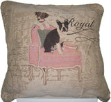 "Set of Two Royal Dogs French Bulldog Beagle Elegant Novelty Woven Square Throw Toss Accent Cushion Cover Pillow with Inserts 18"" x 18"" - Stores Basement - Discount Bedding"