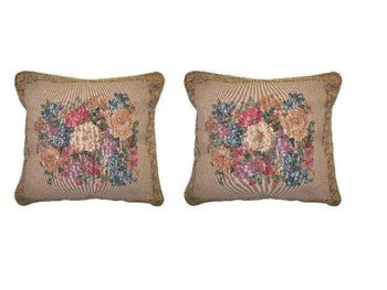 "Set of Two Breath of Spring Floral Elegant Novelty Woven Square Throw Toss Accent Cushion Cover Pillow with Inserts - 2-Pieces - 18"" x 18"" (CC45X45CM3089) - Stores Basement - Discount Bedding"