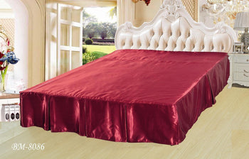 "Shiny Solid Sangria Ruby Red Dust Ruffle Pleated Bed Skirt - 14"" Drop - Cal King (BS-BM8086) - Stores Basement - Discount Bedding"