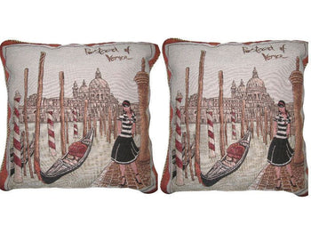 "Set of Two Postcard of Venice Elegant Novelty Woven Square Throw Toss Accent Cushion Cover Pillow with Inserts - 2-Pieces - 18"" x 18"" (CC45X45CMG14420) - Stores Basement - Discount Bedding"