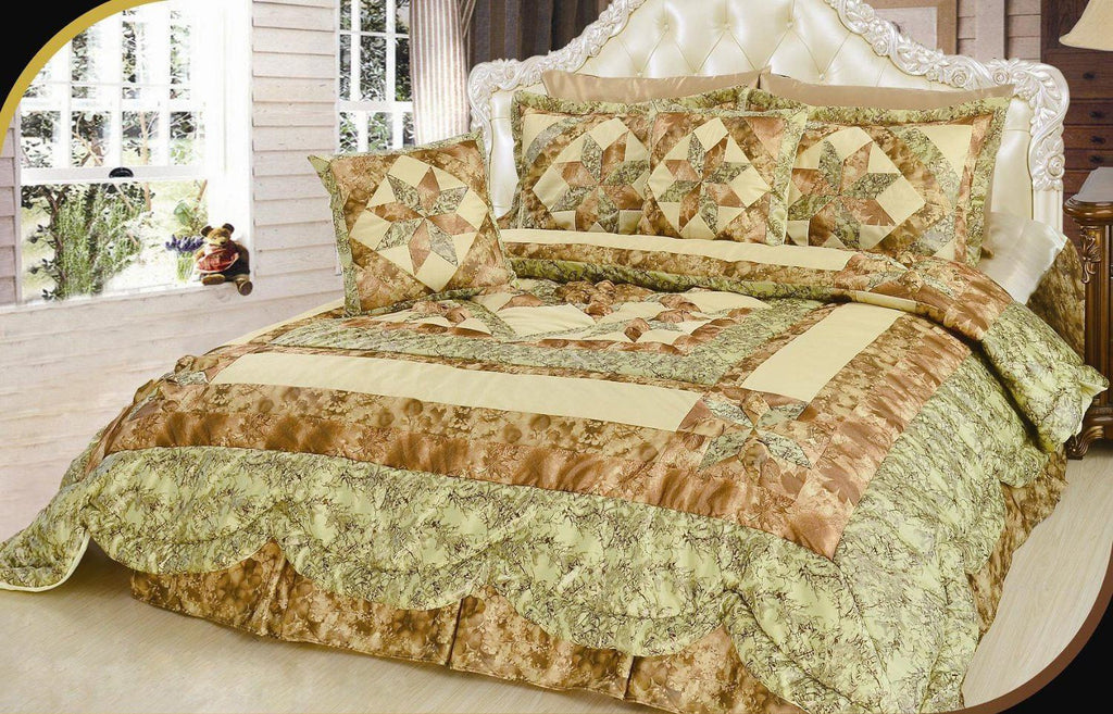 Geometric Star-Crossed Lovers Floral Sandy Beige Green Embellished Ruffles Coverlet Bedspread Comforter Set (BM6118L-1) - Stores Basement - Discount Bedding