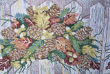 Merry Christmas Fiesta Floral Beige Tan Hand-Crafted Woven Tapestry Desk Dining Table Runners (6068) - Stores Basement - Discount Bedding