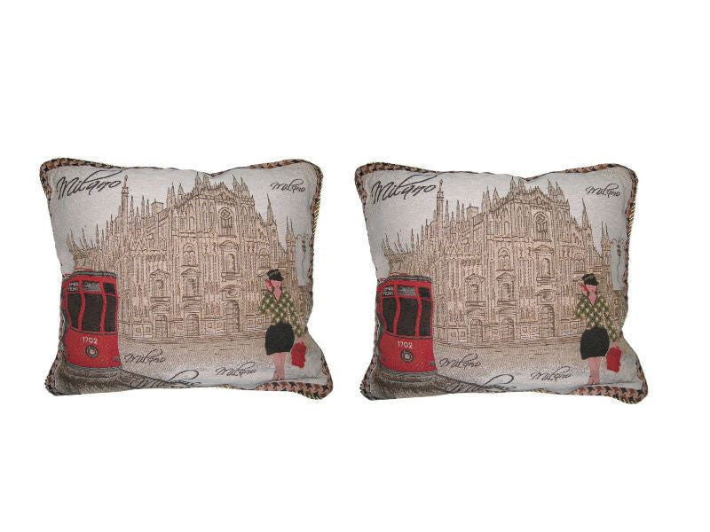 "Set of Two Postcard of Milan Elegant Novelty Woven Square Throw Toss Accent Cushion Cover Pillow with Inserts - 2-Pieces - 18"" x 18"" (CC45X45CMG14421) - Stores Basement - Discount Bedding"