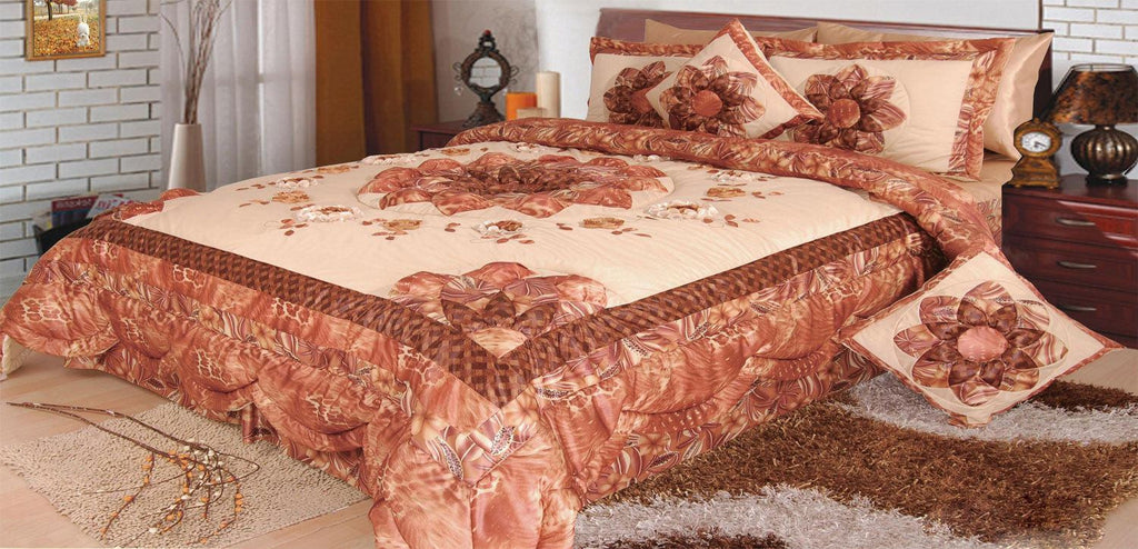 Floral Autumn Leaves Warm Bronze Brown Luxury Embellished Glamorous Ruffled Bedspread Coverlet Comforter Bedspread Set - (BM4304L) - Stores Basement - Discount Bedding