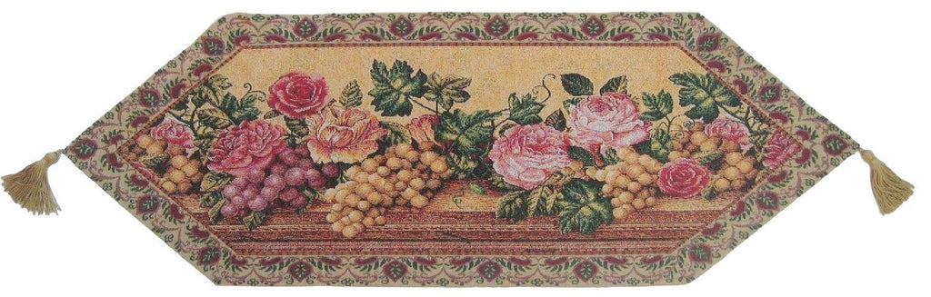 Romantic Parade of Fruit and Roses Floral Beige Pink Woven Place Mat Table Runners Cloths (14426) - Stores Basement - Discount Bedding