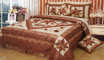 Diamond of Night Embellished Brown Beige Floral Stars Ruffles Bedspread Comforter Set (BM915L) - Stores Basement - Discount Bedding