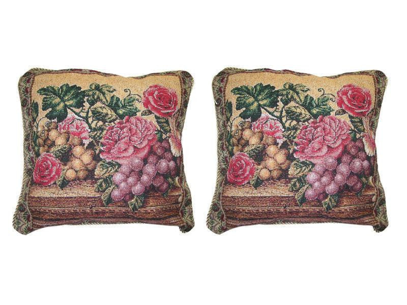 "Set of Two Romantic Parade of Fruit & Roses Floral Elegant Novelty Woven Square Throw Toss Accent Cushion Cover Pillow with Inserts - 18"" x 18"" - Stores Basement - Discount Bedding"