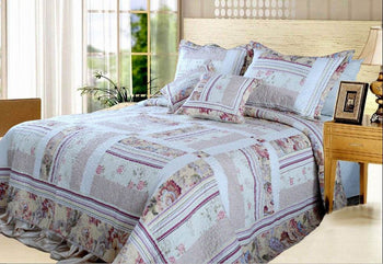 Classic Floral Blossoming Reversible Real Patchwork 100% Cotton Quilted Bedspread Set - Twin Size (DXJ103112) - Stores Basement - Discount Bedding