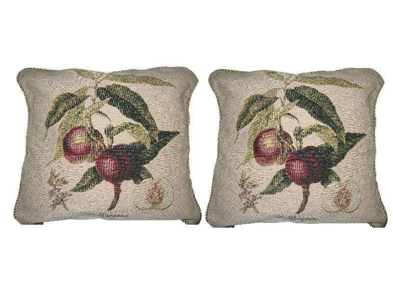 "Set of Two Nectarine Fruits Elegant Novelty Woven Square Throw Toss Accent Cushion Cover Pillow with Inserts - 2-Pieces - 18"" x 18"" (CC45X45CM312) - Stores Basement - Discount Bedding"