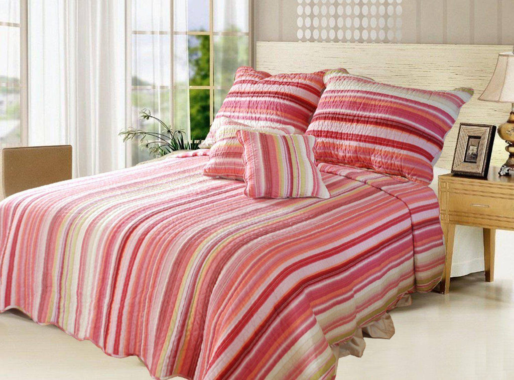 Lovely Stunning Stripes Red & Pink Reversible Quilted Coverlet Bedspread Set (DXJ101824) - Stores Basement - Discount Bedding