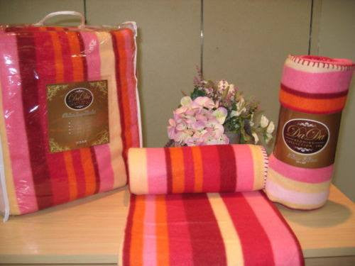 Pink Yellow Red Orange Stripes Super Plush Soft Warm Polar Large Oversize Fleece Throw Blanket - Stores Basement - Discount Bedding