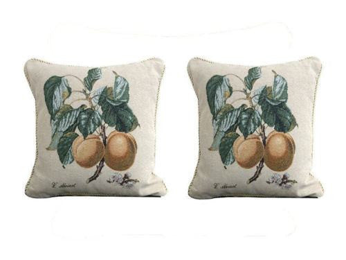"Set of Two Apricot Fruit Elegant Novelty Woven Square Throw Toss Accent Cushion Cover Pillow with Inserts - 2-Pieces - 18"" x 18"" (CC45X45CM313) - Stores Basement - Discount Bedding"