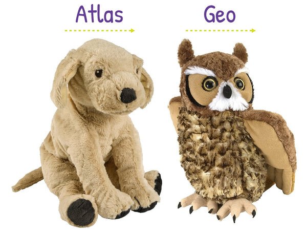 Geo and Atlas Plush Toys