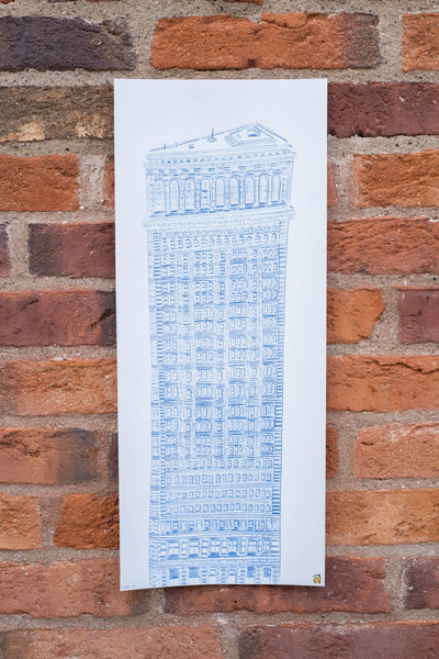 Flat Iron Building. Carbon Blueprint 1/1 - 20cm x 50cm