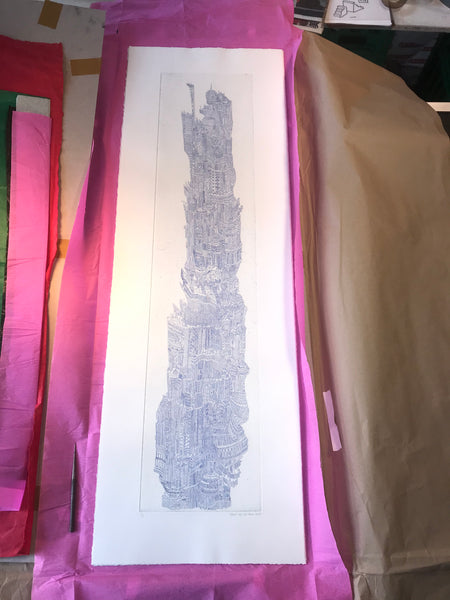 """TREASURE TOWER IV"" INTAGLIO COPPER-ETCHING - 34cm x 104cm"