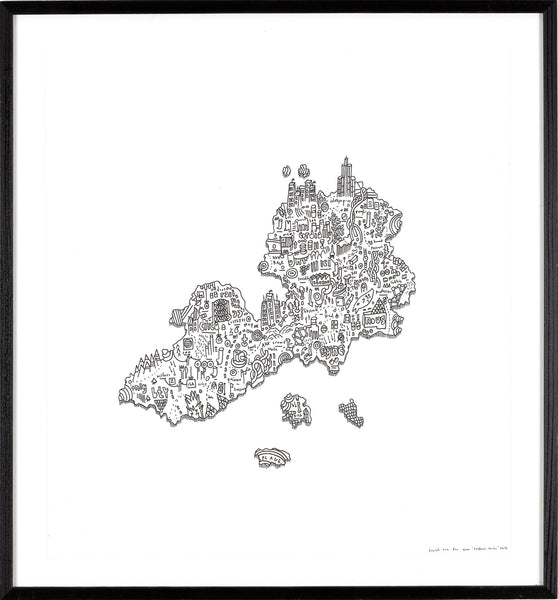 Buying an Island, 38,5cm x 41,5cm (framed)