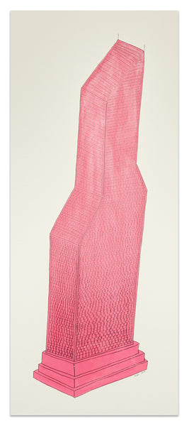Pink Tower (something for Phillip Guston), 23.5cm x 55.5cm