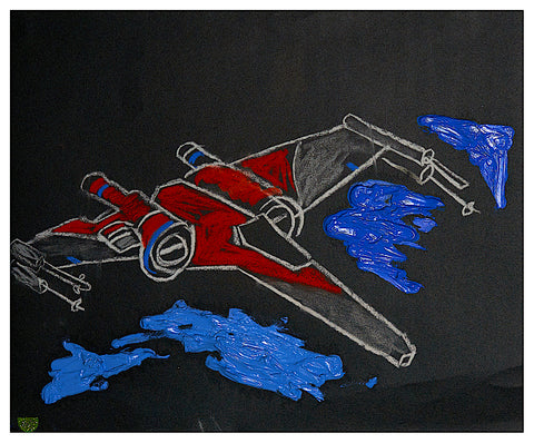 X-Wing Fighter (based on) with Oily Clouds on Sandpaper from Myrtle Av, New York City, 28.5cm x 21cm