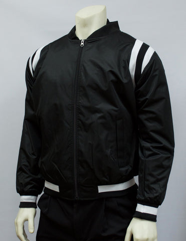 BKS227-Smitty Collegiate Style Black Jacket w/ Black & White Side Insets