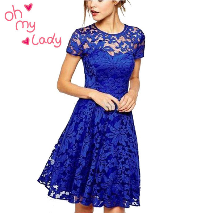 Floral Lace Dresses Short Sleeve Party Casual