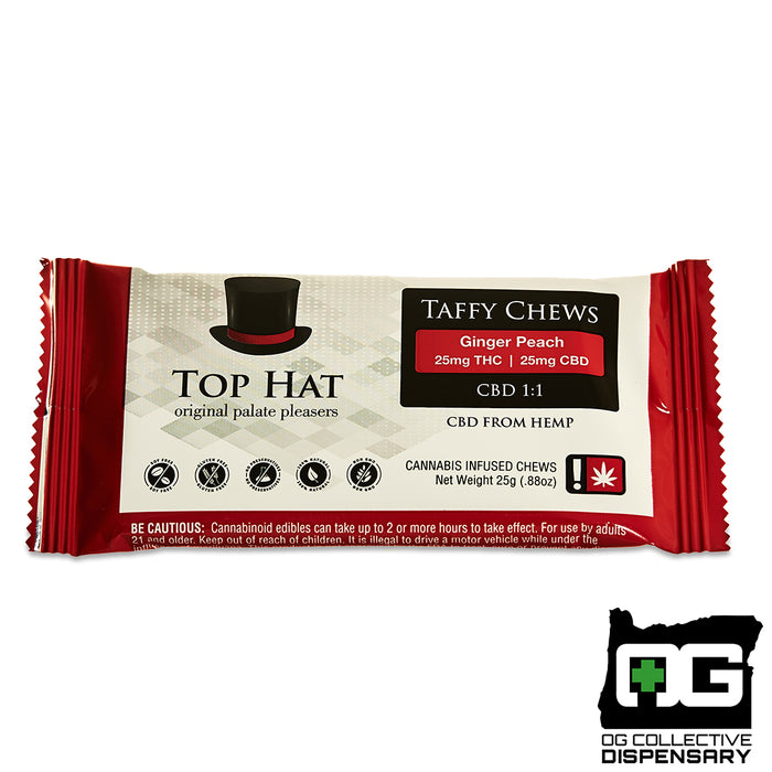 GINGER PEACH CBD 1:1 TAFFY from TOP HAT [CR]