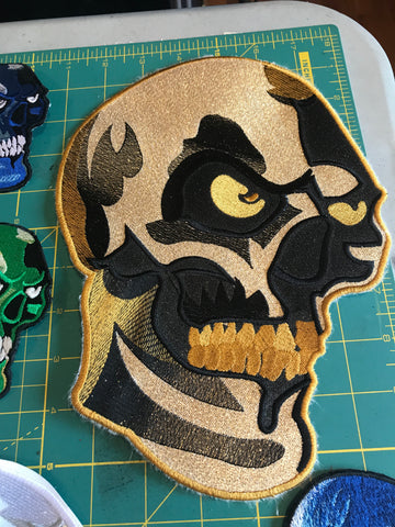 Metallic Gold XL Skull Patch