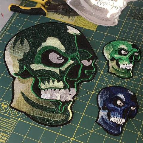 Metallic Green Camo XL Skull Patch