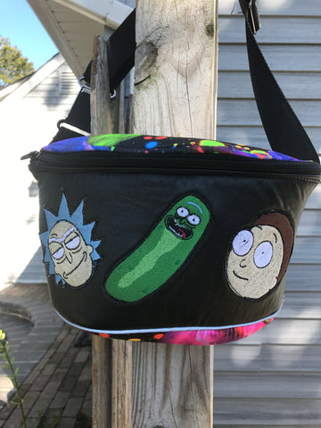 Rick & Morty Fanny Pack: 3 patches, Galaxy Print, Faux Leather